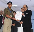 Dinesh Trivedi presented the 56th Railway Week National Awards for Outstanding Services-2011, at a function, in New Delhi on November 21, 2011. The Minister of State for Railways, Shri Bharatsinh Solanki is also seen.jpg