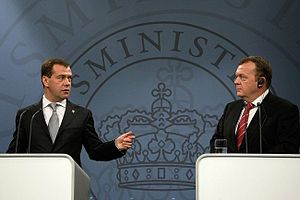 Foreign relations of Denmark - Former Russian President Dmitry Medvedev and current Danish Prime Minister Lars Lokke Rasmussen hold a joint press conference, April 2010.