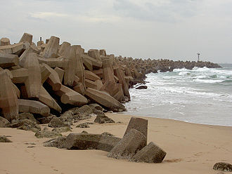 Dolos - Durban's South Pier with a line of interlocking dolosse, South Africa