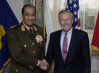 Mohamed Hussein Tantawi - Field Marshal Tantawi with U.S. Defense Secretary Donald Rumsfeld, 7 March 2006.