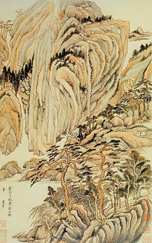 Wangchuan ji - Landscapes in the Manner of Old Masters (in the manner of Wang Wei). Album leaf. Dong Qichang. 1621-24.