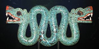 Timeline of Native American art history - Aztec/Mixtec turquoise mosaic, double-headed serpent pectoral, 15th–16th century CE