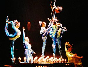 Contemporary circus - Cirque du Soleil performing Dralion in Vienna, 2004