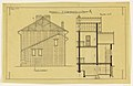 Drawing, Rendering of the Side Elevation and Cross-section of a Two Family Mass-operation House (Type No. 1), ca. 1921 (CH 18385001).jpg