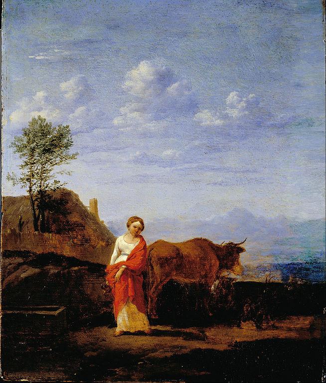 File du jardin karel a woman with cows on a road for Art du jardin zbinden sa