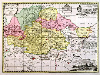 Duchy of Oels - Ducatus in Silesia Inferiore Olsnensis, engraving by Pieter Schenk the Younger, about 1720