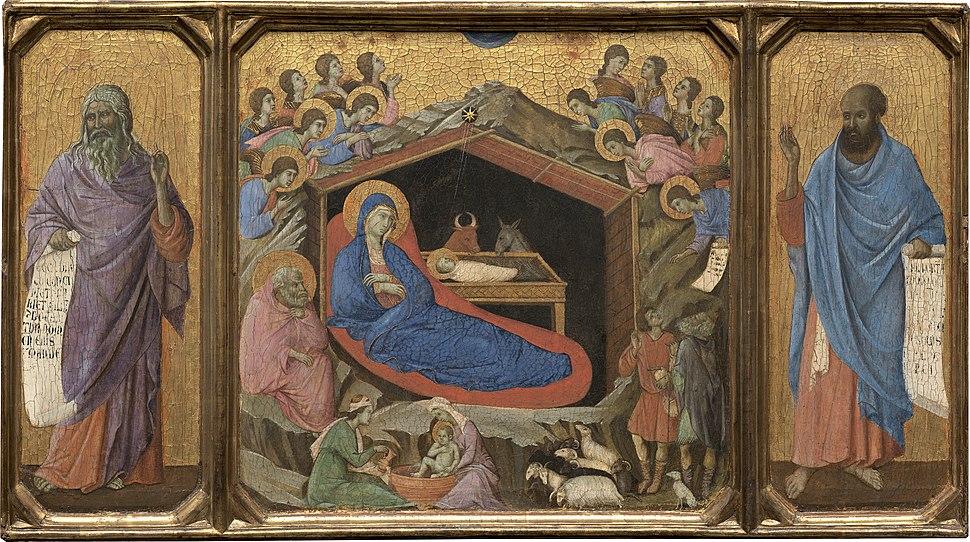 Duccio di Buoninsegna, The Nativity with the Prophets Isaiah and Ezekiel, 1308-1311, NGA 10