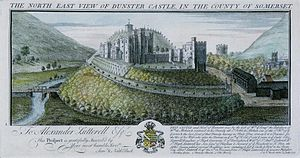 Dunster Castle - The castle in 1733, showing the then recently planted New Way, the mansion (l), Great Gatehouse (c) and stables (r). The motte, with the summer house, is visible in the background