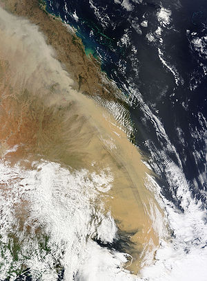 2009 Australian dust storm - MODIS Terra satellite image of the dust storm over eastern Australia taken on 23 September 2009