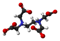 Ball and stick model of the EDTA molecule, in the zwitterionic form found in the solid state