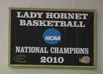 Emporia State Hornets - 2010 National Championship banner hanging in White Auditorium