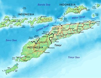 Map of East Timor indicating cities and principal roads.