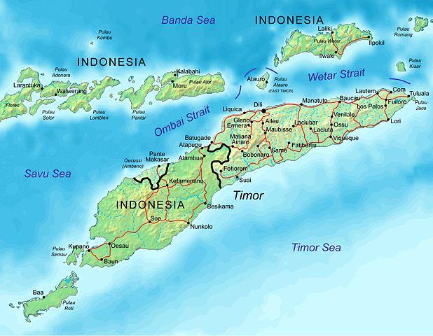Karte von Timor-Leste mit Städten und Hauptstrassen
