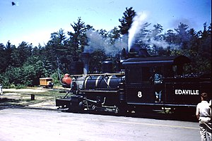 Edaville Railroad - Former Bridgton locomotive operating at Edaville in 1959. A former Sandy River railbus and Bridgton tank car may be seen in the background in front of the locomotive.