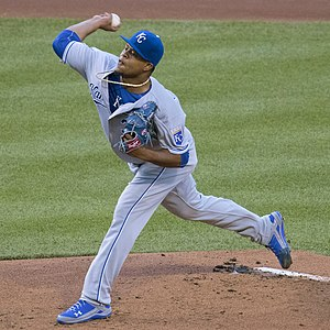 Edinson Vólquez - Vólquez pitching for the Kansas City Royals in 2016