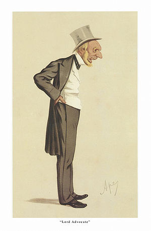 "Edward Gordon, Baron Gordon of Drumearn - ""Lord Advocate"" Gordon as caricatured by Ape (Carlo Pellegrini) in Vanity Fair, October 1874"