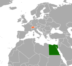 Map indicating locations of Egypt and Switzerland