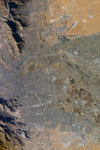 Illegal immigration to the United States - El Paso (top) and Ciudad Juárez (bottom) seen from earth orbit; the Rio Grande is the thin line separating the two cities through the middle of the photograph.