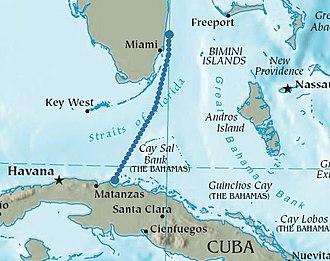 Elián González - The journey from Cárdenas, Matanzas, Cuba, near Matanzas, to Florida.