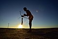 Elia Fester, Kalahari Khomani San Bushman, Boesmansrus camp, Northern Cape, South Africa (20531542422).jpg