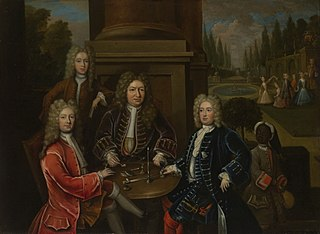 Elihu Yale seated at table with the Second Duke of Devonshire and Lord James Cavendish