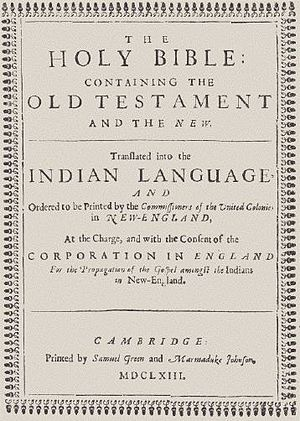 Wampanoag - Title page of first known Bible printed in what is now the United States, translated in the Massachusett language by John Eliot