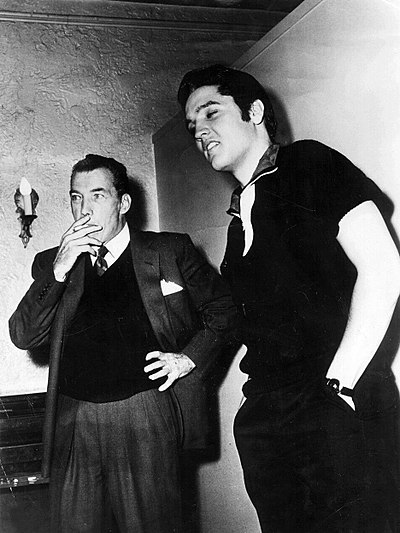 Ed Sullivan and Presley during rehearsals for his second appearance on The Ed Sullivan Show, October 26, 1956 Elvis Presley and Ed Sullivan October 1956.jpg