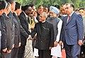 Emomali Rahmon introducing the Tajikistan delegation to the President, Shri Pranab Mukherjee and the Prime Minister, Dr. Manmohan Singh, at the ceremonial reception, at Rashtrapati Bhavan, in New Delhi on September 03, 2012.jpg