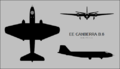 English Electric Canberra B.6 three-view silhouette.png