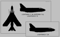 English Electric Lightning F.2A, F.3A, F.6 two-view silhouette.png
