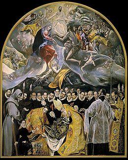 Ταφή του κόμη του Οργάθ (1586-88), Λάδι σε μουσαμά, 480x360 εκ., Τολέδο, Άγιος ΘωμάςO πίνακας περιλαμβάνει δύο διακριτές περιοχές. Στο κάτω μέρος της σύνθεσης απεικονίζεται η κηδεία του κόμη, ενώ στο άνω μέρος, που συμβολίζει τον παράδεισο, η ψυχή του μεταφέρεται από έναν άγγελο, έχοντας πάρει τη μορφή ενός παιδιού. Σύμφωνα με ένα θρύλο, τη στιγμή της ταφής τού κόμη εμφανίστηκαν ως εκ θαύματος ο Άγιος Στέφανος και ο Άγιος Αυγουστίνος. Έχει υποστηριχθεί πως ορισμένες μορφές του πίνακα απεικονίζουν επιφανείς προσωπικότητες του Τολέδου. Ειδικότερα, μία από τις μορφές στη δεξιά πλευρά του πίνακα ταυτίζεται με τον Αντόνιο δε Κοβαρούμπιας, συγκρίνοντας με την προσωπογραφία του, την οποία φιλοτέχνησε ο Γκρέκο το 1600.