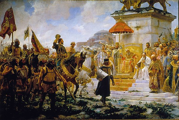Roger de Flor is received by the Byzantine emperor. Entrance of Roger of Flower in Constantinopla (1888). Work of José Moreno Carbonero (Palace of the Senate, Madrid). Entrada de Roger de Flor en Constantinopla (Palacio del Senado de España).jpg
