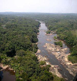 Ituri Rainforest - View of Epulu River in the Ituri area.
