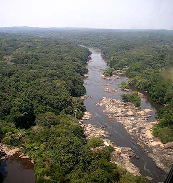 Epulu River in the Ituri area, Democratic Repu...