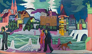 1921 in art - Image: Ernst Ludwig Kirchner View of Basel and the Rhine