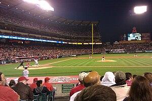 2010 New York Yankees season - Nick Swisher bats against the Angels whilst Brett Gardner waits on deck.