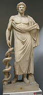 Esculapio, irelaborazione romana del II secolo dc. di originale greco del IV sec. ac., dal quirinale, inv. 2288