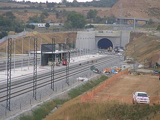 Perpignan–Barcelona high-speed rail line - Figueres-Vilafant railway station under construction in August 2010. French TGVs from Paris terminated here between 2011 and 2013, connecting with a Spanish train to Barcelona