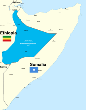 Ogaden War - Ethiopian territory occupied by Somalia in 1977.
