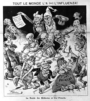 1889–90 flu pandemic - The January 12, 1890, edition of the Paris satirical magazine Le Grelot depicted an unfortunate influenza sufferer bowled along by a parade of doctors, druggists, skeleton musicians and dancing girls representing quinine and antipyrine.