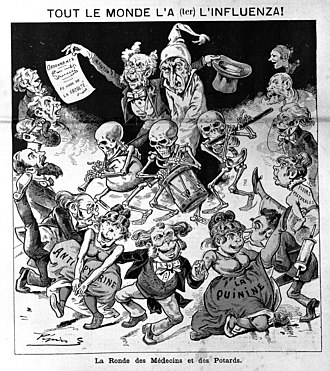 1889–90 flu pandemic - The January 12, 1890, edition of the Paris satirical magazine Le Grelot depicted an unfortunate influenza sufferer bowled along by a parade of doctors, druggists, skeleton musicians and dancing girls representing quinine and antipyrine