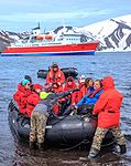Excursion No. 12. into the old caldera of Deception Island.the last guests arriving for the next event.peculiar to slightly deranged humans only. (25382985344).jpg