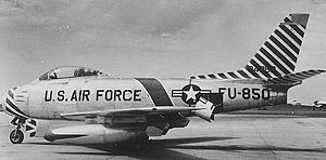 England Air Force Base - North American F-86F-25-NH Sabre Serial 52-4850 from the 366th Fighter-Bomber Wing.