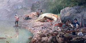 Canoe camping - Voyageurs at Dawn by F.A. Hopkins (1871) - during their trips, expedition canoe travel was a way of life for French voyageurs. This painting well shows the rudimentary camping practices of the voyageurs.