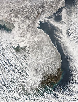 Winter storms of 2009–10 in East Asia - Image: FAS Korea 2010005 terra 250m