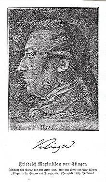 Friedrich Maximilian Klinger nach einer Kreidezeichnung von Johann Wolfgang von Goethe (Quelle: Wikimedia)