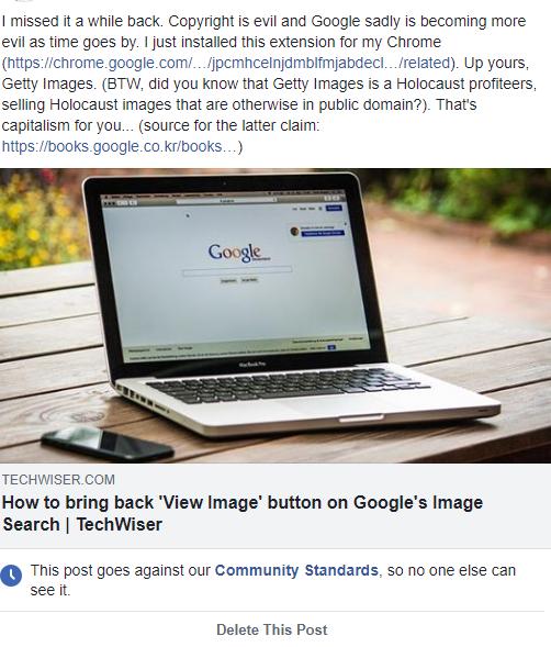 Facebook censored post