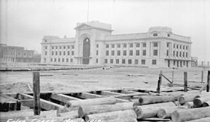 Pacific Central Station - The station in 1918, known as False Creek Station. Shows the land around the building being filled in.