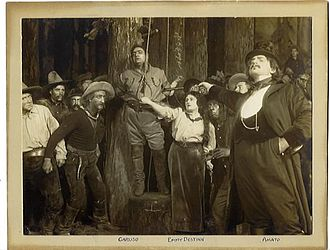 La fanciulla del West - Scene from act 3 of the premiere, with Enrico Caruso, Emmy Destinn, and Pasquale Amato