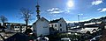 "Fengselet (""The Prison"") and restaurant in Jens Hystadvegen, Skrivarvegen in front, Radio tower (Telebygget) in Borggata 10 in the backgrund. Leirvik, Stord, Norway. Distorted, compressed panorama 2018-03-13.jpg"
